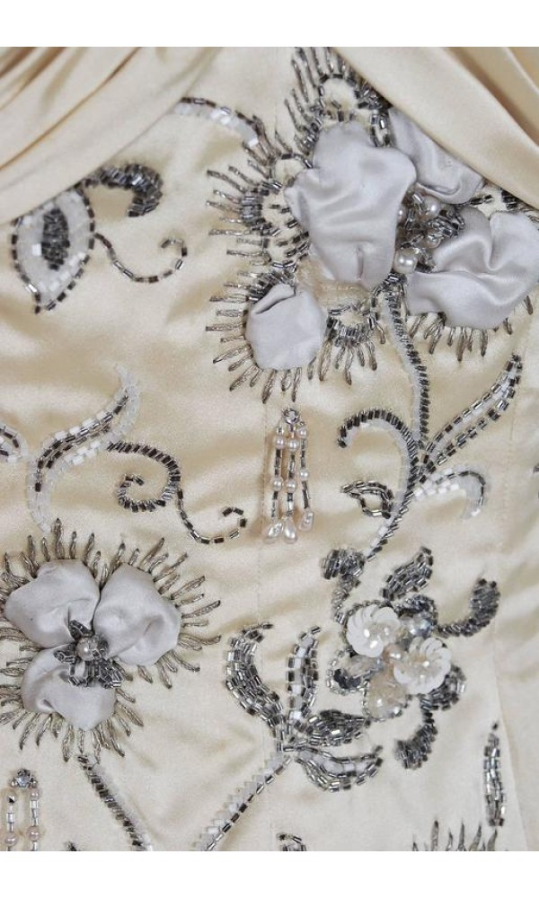 311cac13 1950's Pierre Balmain Couture Attribute Ivory Beaded Embroidered ...