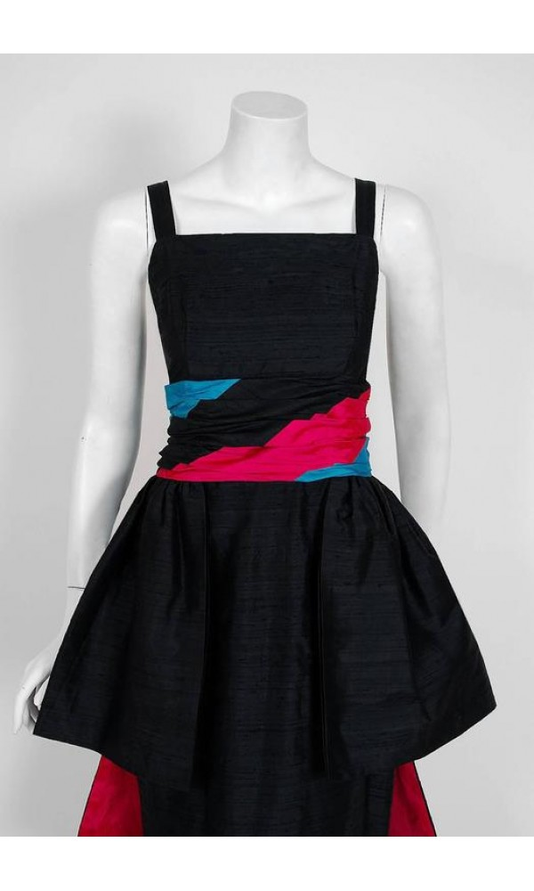 vintage dress, 1968 Carven Paris Black & Pink Silk Hourglass Peplum ...