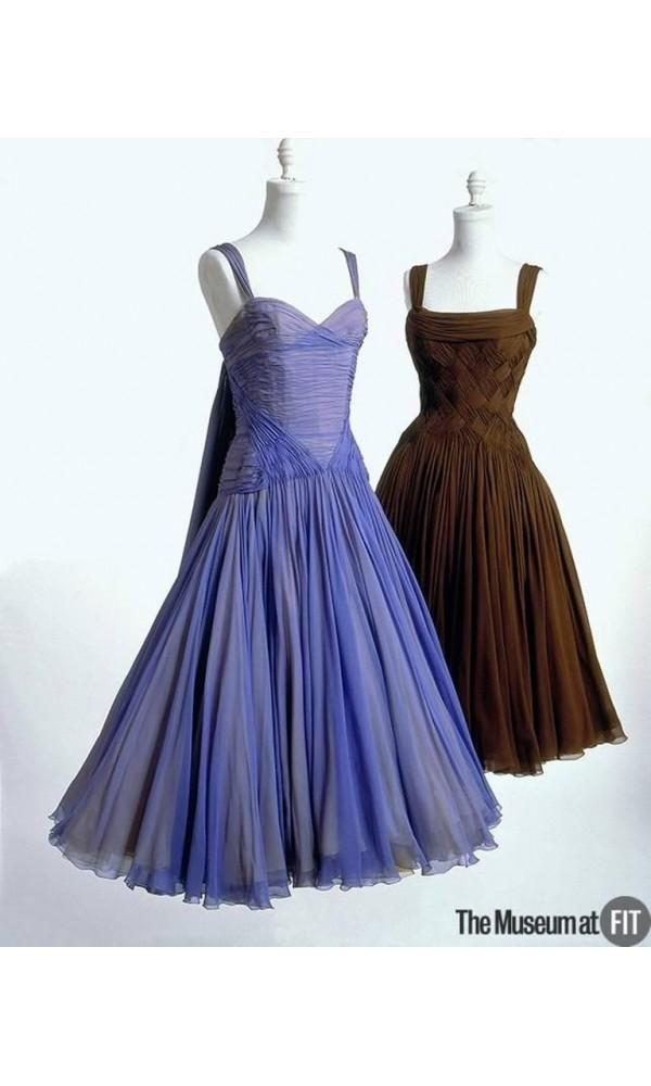 1961 Carven Demi-Couture Seafoam Green Ribbon Weave Crepe Chiffon ...