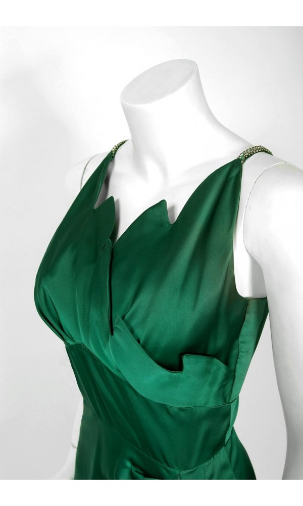 b7ce8097a4 1940 s Forest Green Silk Flames Sculpted Swag Rhinestone Cocktail ...