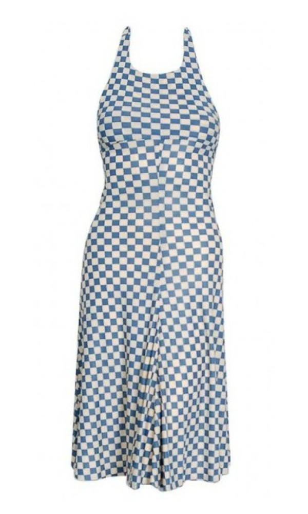 2d65f6204b 1970 s Biba London Blue   Ivory Checkered Print Jersey Halter ...