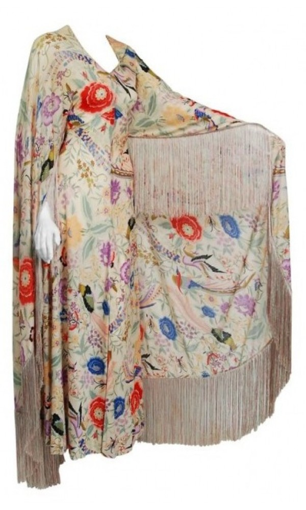 1971 Missoni Couture Colorful Floral Bird Print Silk-Jersey Fringe ...