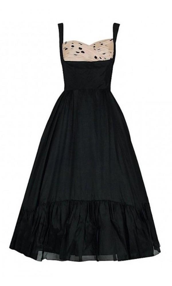 515bcc79e7de 1950's Oleg Cassini Black & Pink Polka-Dot Silk Full Party Dress